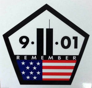 "911 REMEMBER Decal, Free Shipping, 4"", 911 Decal Black Outline"