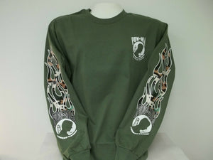 POW MIA Long Sleeve T-Shirt With Camo Flame Sleeve Prints, Your Choice Of Color