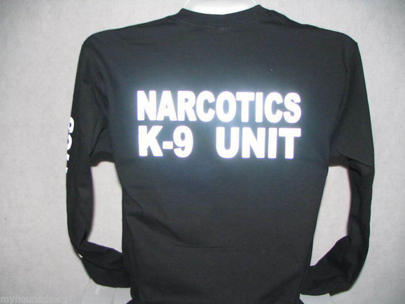Reflective Narcotics K-9 Unit Long Sleeve T-Shirt, Reflective Narcotics,K9 Unit