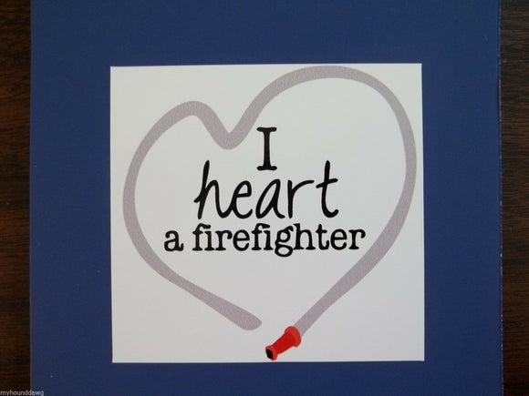 I Love a Firefighter Hose Decal, Free Shipping, 3.50