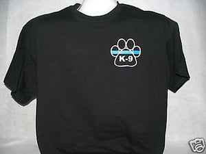 Blue Line K-9 Gold Paw Print T-Shirt, Blue Line,,,,,,XL