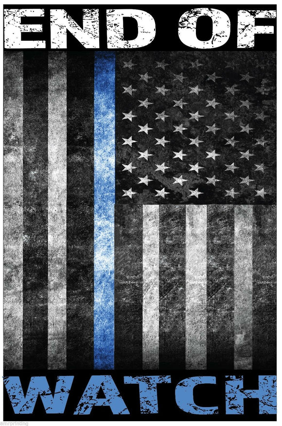 End of Watch Blue Line American Flag Sublimated T-Shirt