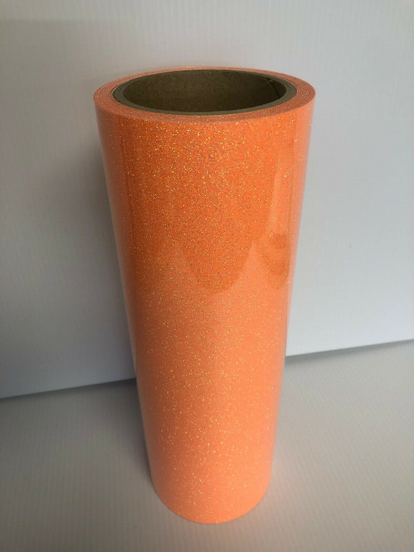 Fluorescent Orange, Glitter Flake HTV T-Shirt Iron On Heat Transfer Vinyl Sheets