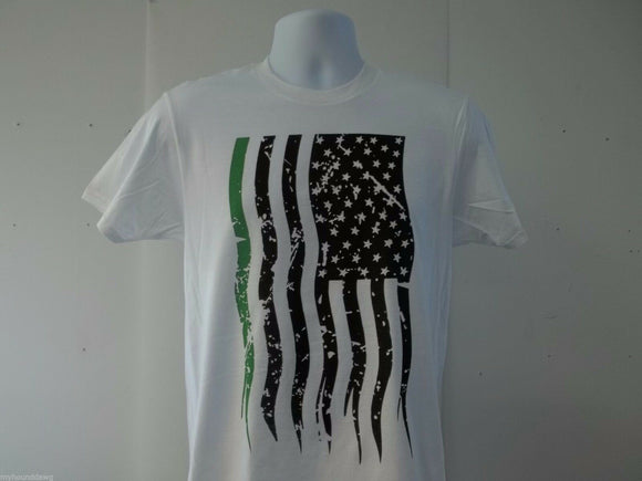 Towing and Recovery Green Line Sublimated Vertical American Flag T-Shirt