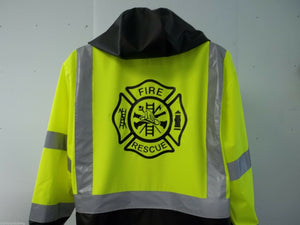 Reflective FIRE RESCUE Raincoat/Windbreaker, Small-XXL