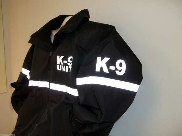 Reflective K-9 Jacket with Reflective Striping, All Weather Jacket, Black & Navy