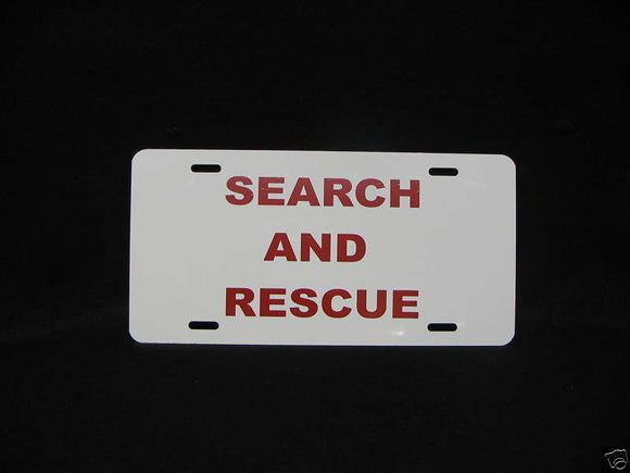 SEARCH AND RESCUE CUSTOM MADE LICENSE PLATE, S&R TAG
