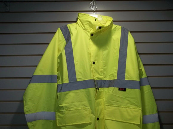 Class 3 Lime Green Economy Safety Rain Coat, 6001