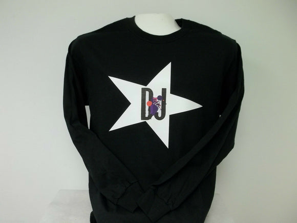 Star DJ Long Sleeve T-Shirt, Printed on Front, 3 Colors to Choose From, SM-XXXL
