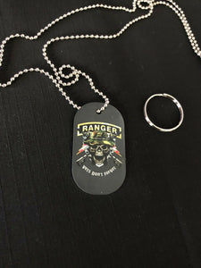 Vets Don't Forget Ranger Skull Dog Tag Key Chain, Complete with Key Ring & Chain