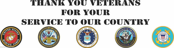 Thank You Veterans , Army, Navy, Air Force,Marines, Banner, 20