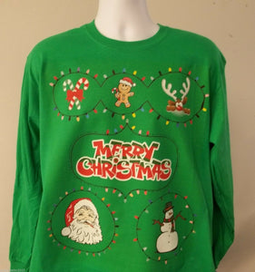 Custom Printed Ugly Christmas Party Sweater Look Long Sleeve T-Shirt