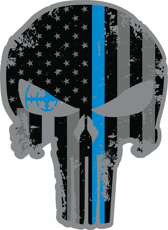 Skull Police Blue Line Sublimated T-Shirt