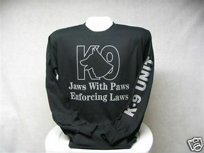 Long Sleeve Jaws With Paws Enforcing Laws T-Shirt, Printed Front and Sleeve