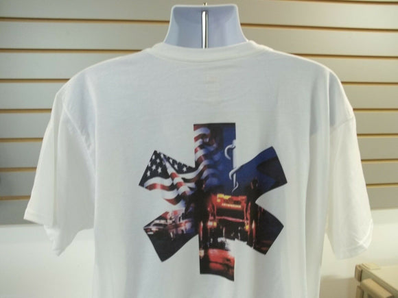 EMS, Paramedic, Cross, Ambulance, American Flag T-Shirt