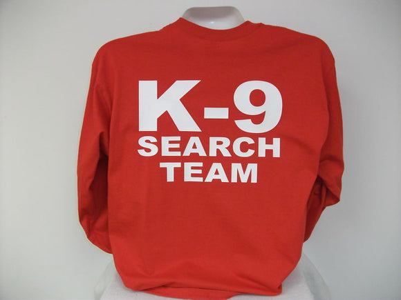 Search And Rescue L/S K-9 T-Shirt, Search Team, rd,,MED