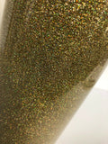 Hologram Gold, Glitter Flake HTV T-Shirt Iron On Heat Transfer Vinyl Sheets
