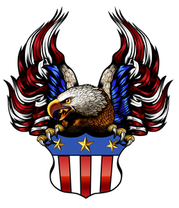 American Flag with Crest T-Shirt, A-0038