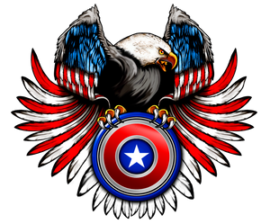 Epic Eagle with American Flag Shield T-Shirt, A-0436