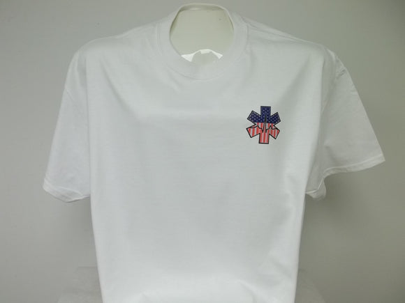 American Flag Pulse Star of Life Front Chest Print T-Shirt