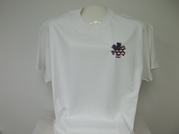 American Flag Ripple Star of Life Front Chest Print T-Shirt