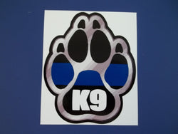 K-9 Blue Line Paw Print Self Adhesive Decal