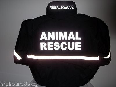 Reflective Animal Rescue Jacket with Reflective Striping, Black or Navy Blue