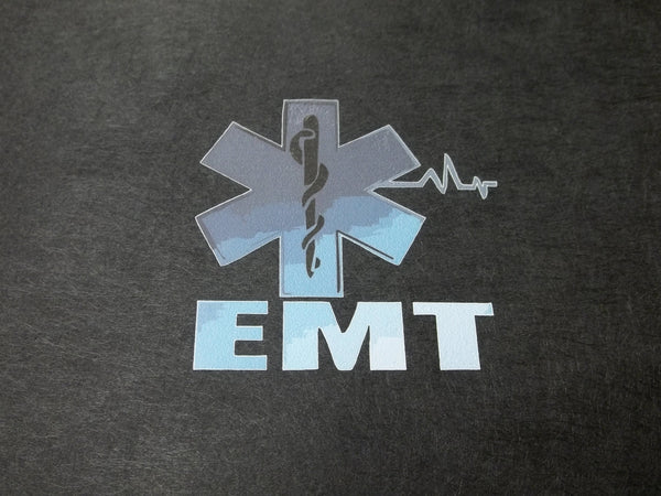 EMT Blue Star of Life Front Chest Print T-Shirt