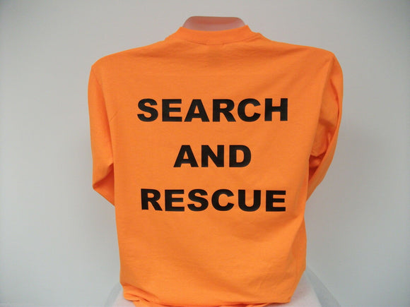 Search And Rescue Long Sleeve T-Shirt, Choose your Shirt & Print Colors, sm-xxx