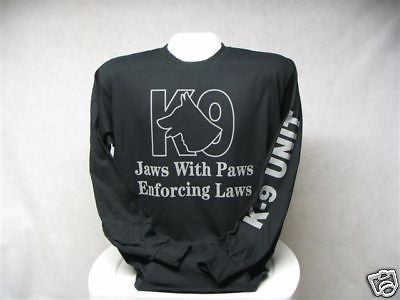 Jaws With Paws Enforcing Laws Long Sleeve T-Shirt, Printed Front and Sleeve