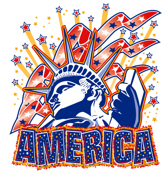 Statue of Liberty Fireworks and America T-Shirt, A80002