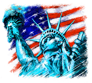 Statue of Liberty with Flag T-Shirt, ap80010
