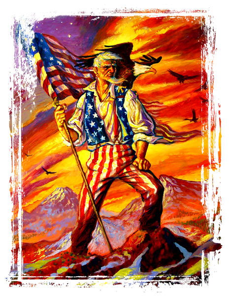 Epic Uncle Sam with Awesome Eagle and Flag T-Shirt, ap80011
