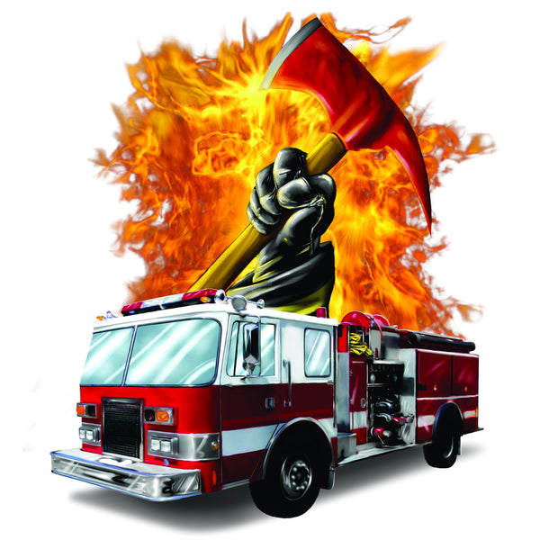 Firetruck and Fire Background and Axe T-Shirt