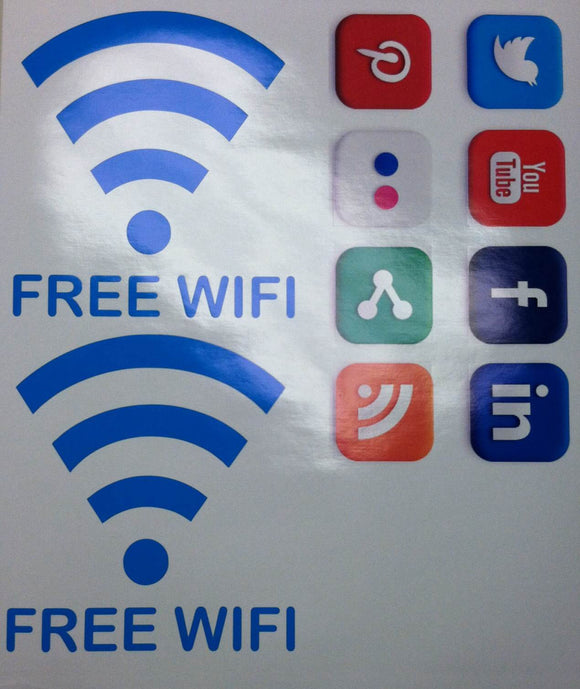 Large Window Decal Set of 2 Free WiFi and Social Media Icons