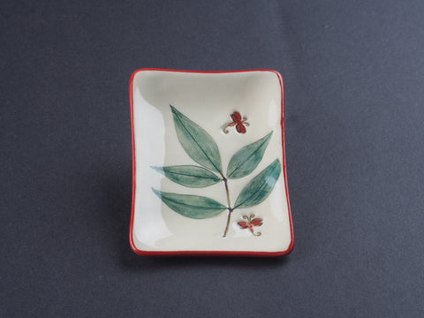 "3"" x 2"" Small Red-banded Dish with Leaf & Dragonfly 17006"