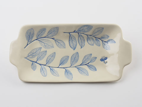 "8"" x 4"" Blue Dragonfly Butter Dish 17022"