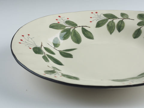 "11"" Large Banded Loropetalum Bowl 17042"