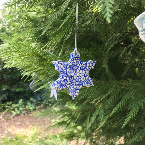 Blue Lace Snowflake Ornament N17073
