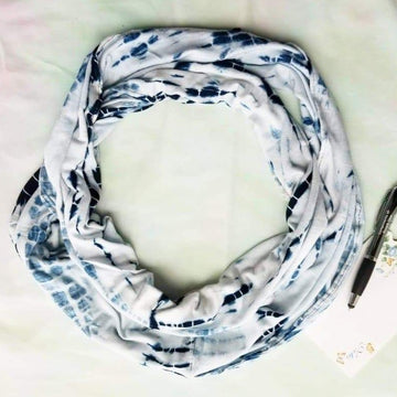 Reflections indigo viscose cotton infinity scarf