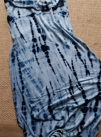 Organic indigo dye makes makes unique patterns on fabric