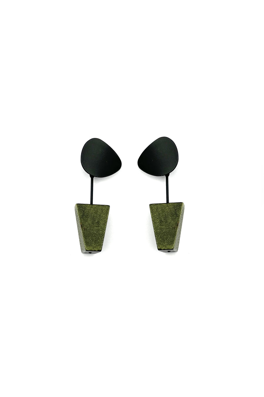 Matte Black and Green Wooden Minimalistic Earrings