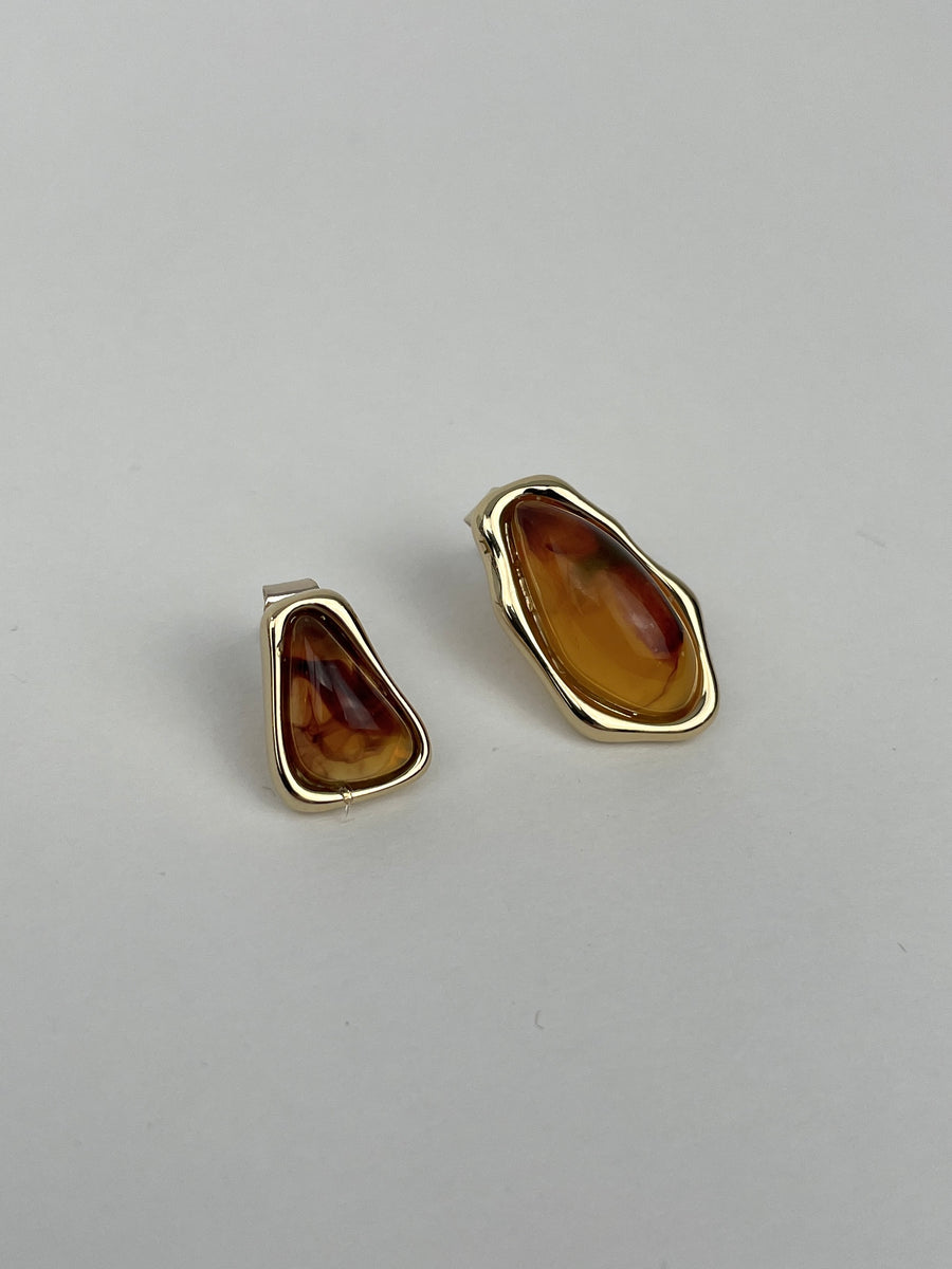 Gold And Amber Stone Earrings