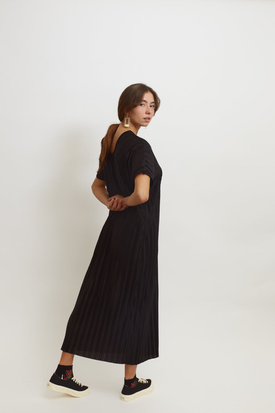 Pleated Slouchy V-neck Dress