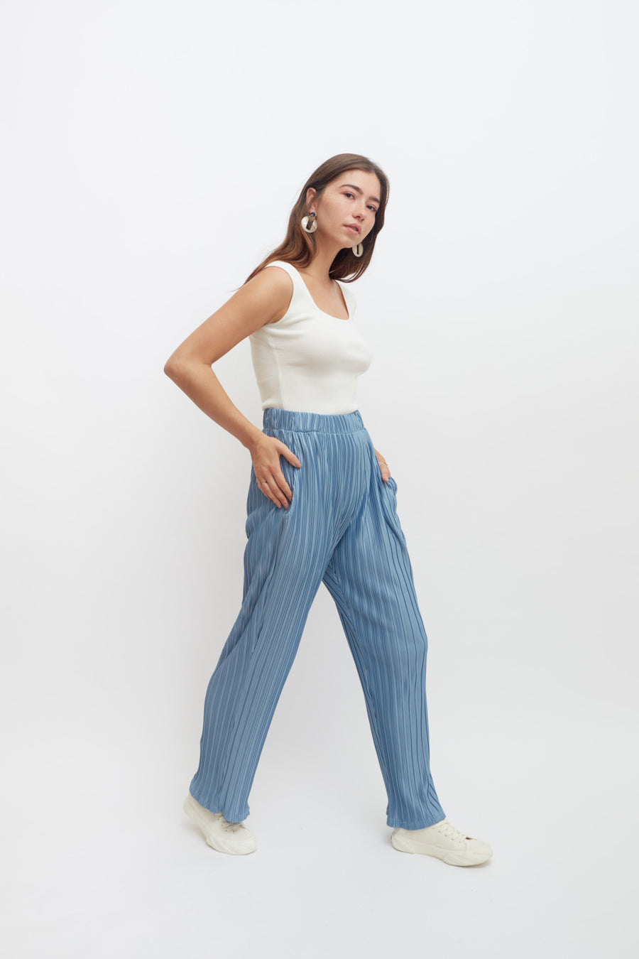 Pleat Trousers (sky blue)