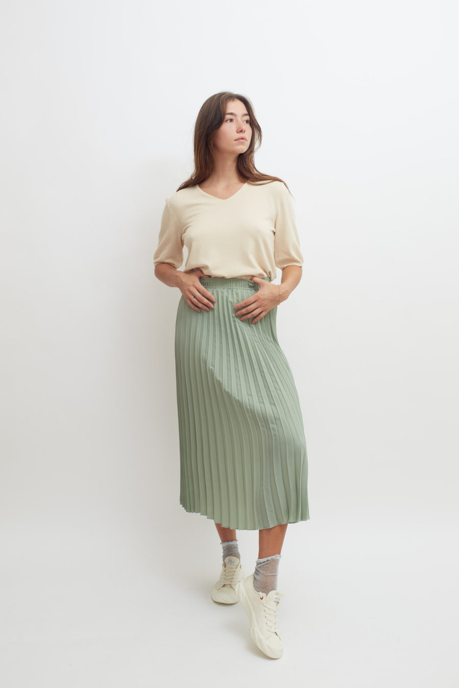 Pleated Skirt (pale green)
