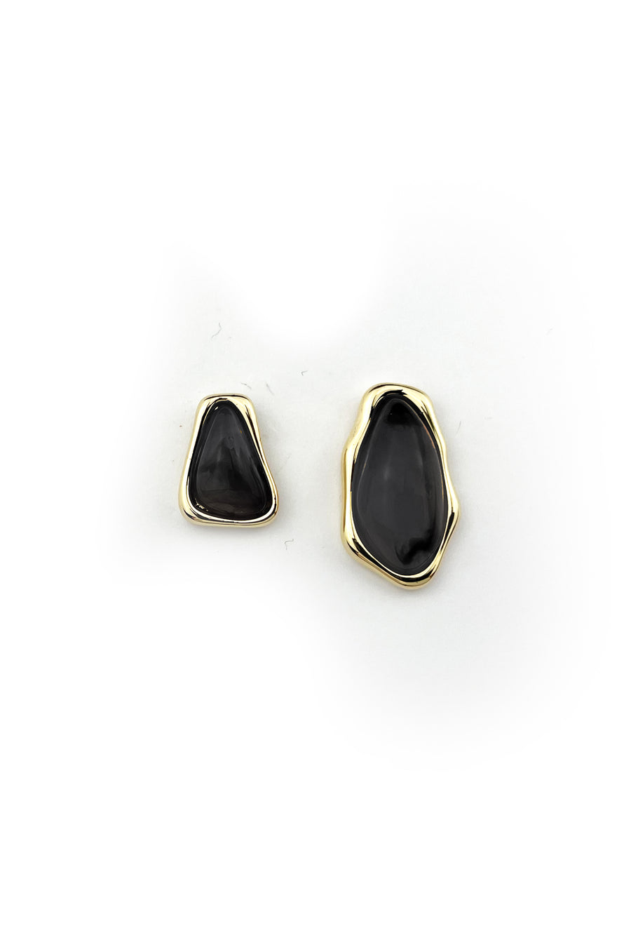 Gold And Onyx Stone Earrings