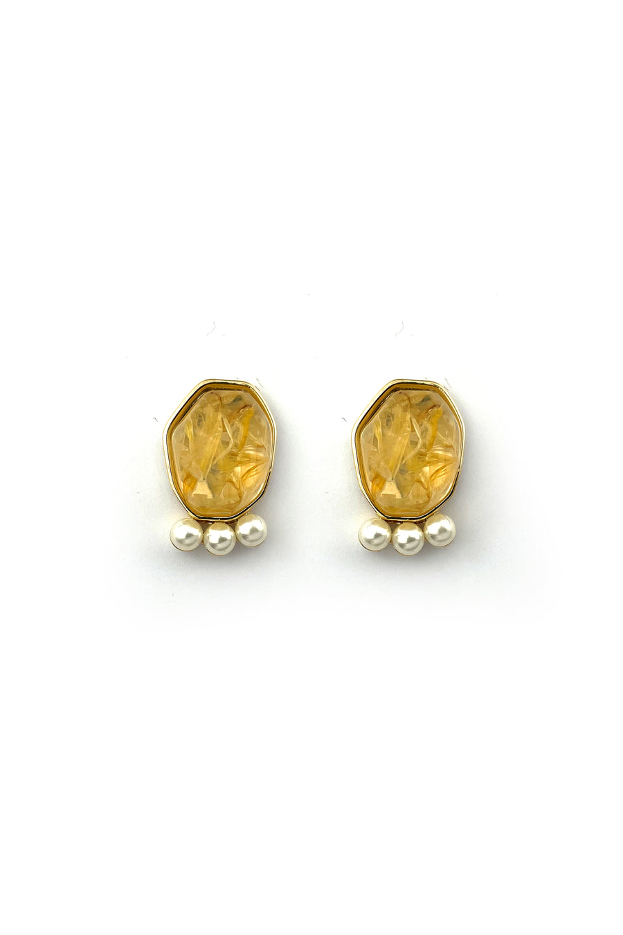 Yellow Stone and Silver Earrings