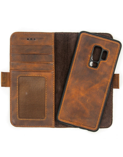 Samsung Galaxy S9 Plus Magnetic Wallet Case 2 in 1 Brown