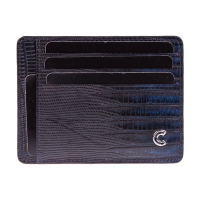 Card Holder Dark Blue Lizard
